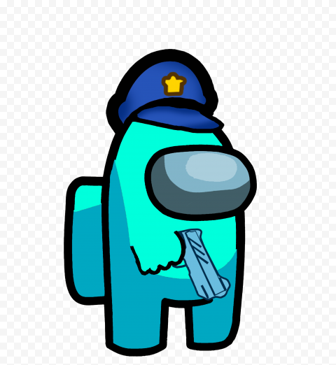 HD Cyan Among Us Crewmate Character With Police Hat Hand Gun PNG