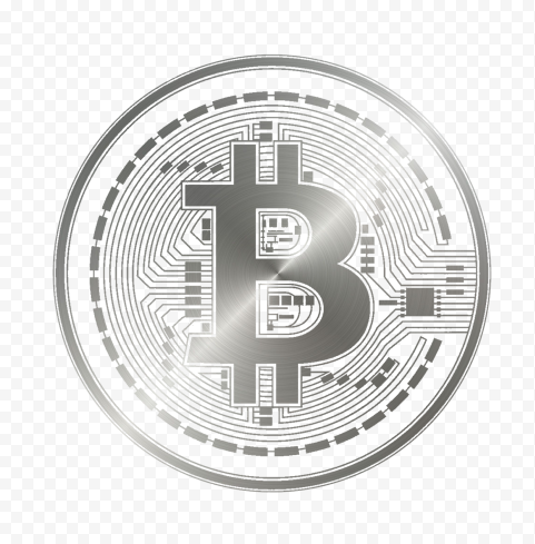HD Silver Gray Bitcoin Crypto Blockchain Coin Icon PNG