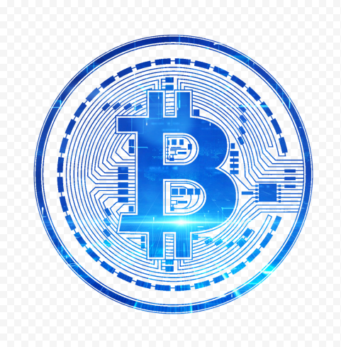 HD Blue BTC Bitcoin Crypto Blockchain Coin Icon PNG