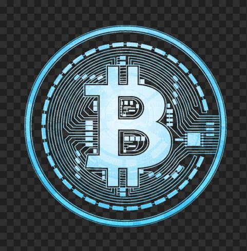 HD Beautiful Blue BTC Bitcoin Crypto Blockchain Coin Icon PNG