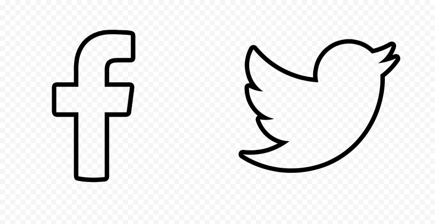 HD Facebook Twitter Black Outline Icons PNG