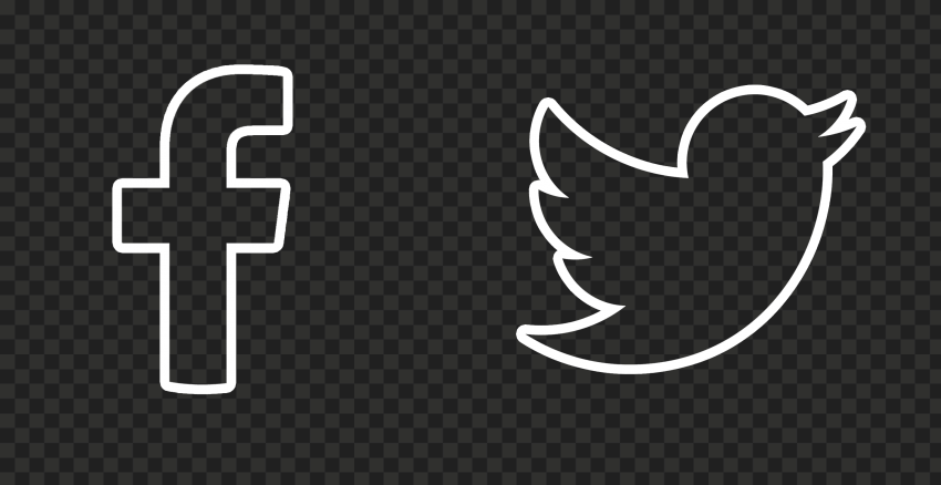 HD Facebook Twitter White Outline Icons PNG