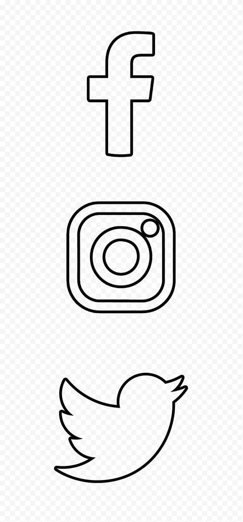 HD Facebook Instagram Twitter Vertical Black Outline Icons PNG