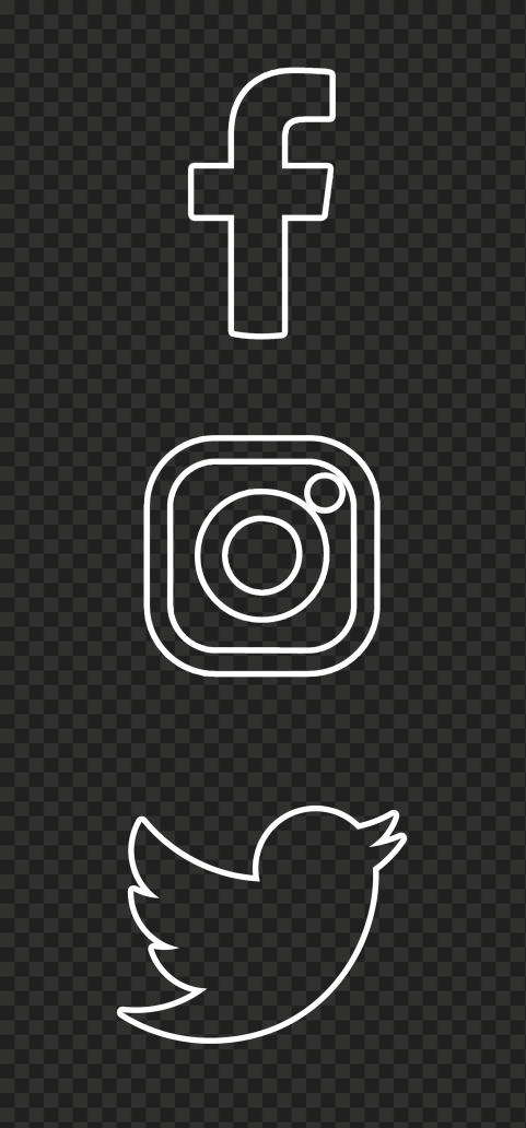 HD Facebook Instagram Twitter Vertical White Outline Icons PNG