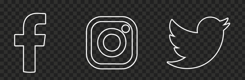 HD Facebook Instagram Twitter White Outline Icons PNG
