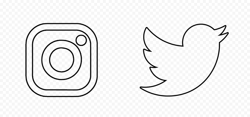 HD Instagram Twitter Black Outline Icons PNG