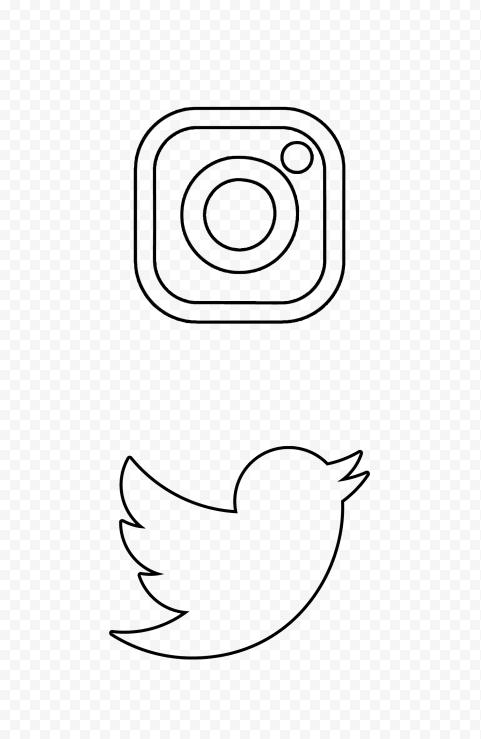 HD Instagram Twitter Vertical Black Outline Icons PNG