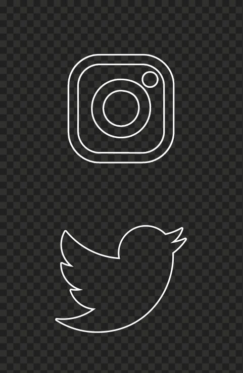 HD Instagram Twitter Vertical White Outline Icons PNG