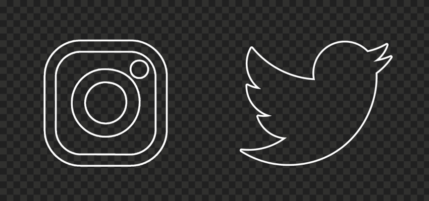 HD Instagram Twitter White Outline Icons PNG