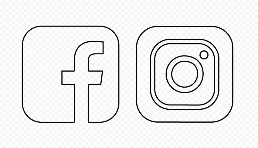 HD Black Outline Facebook Instagram Icons PNG