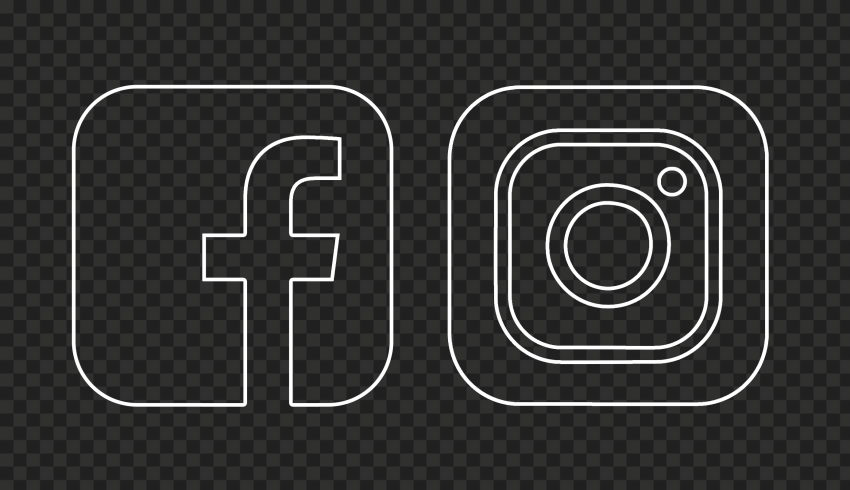 HD White Outline Facebook Instagram Icons PNG