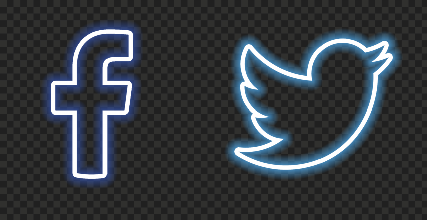 HD Neon Facebook Twitter Icons PNG