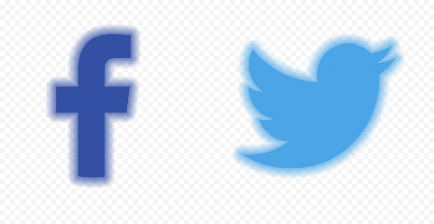 HD Facebook Twitter Aesthetic Neon Icons PNG