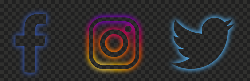 HD Facebook Instagram Twitter Neon Icons PNG