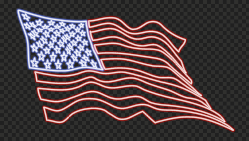 HD American United States Flag Glowing Neon PNG