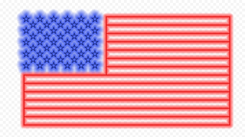 HD American Us United States Flag Glowing Neon PNG