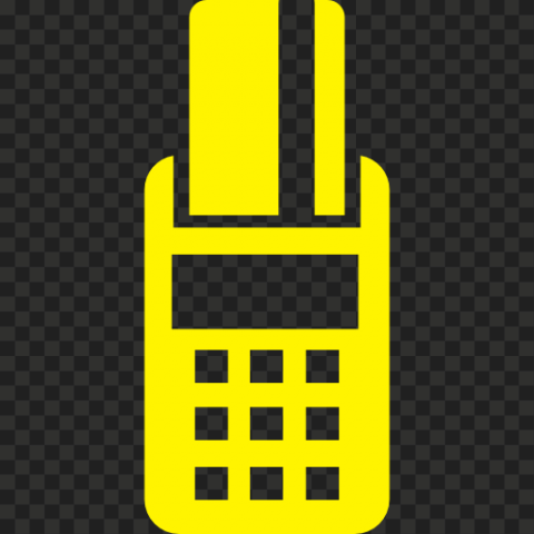 Yellow POS Credit Card Machine Icon PNG