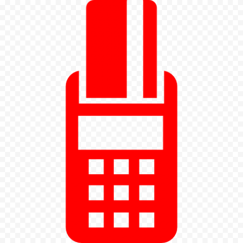 Red POS Credit Card Machine Icon PNG