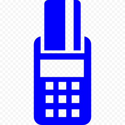 Blue POS Credit Card Machine Icon PNG