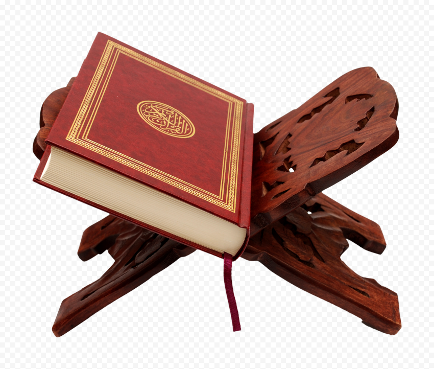 HD Mushaf قرآن Holy Quran Koran On A Wooden Stand Holder PNG