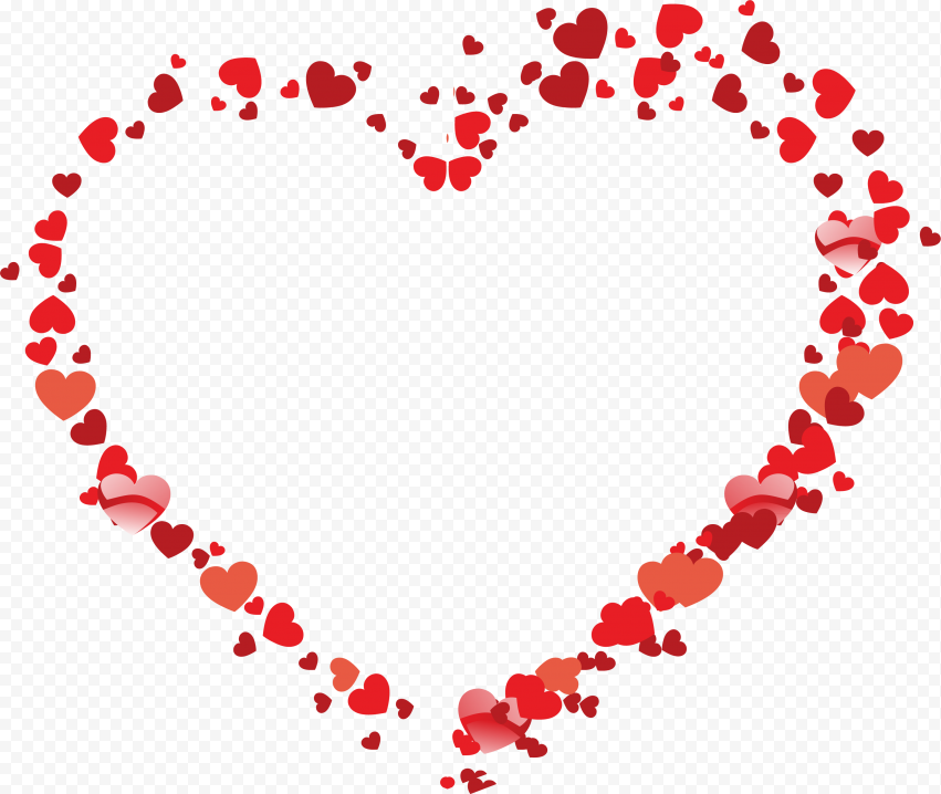 HD Valentine Day Red Outline Heart Shape Flowers PNG