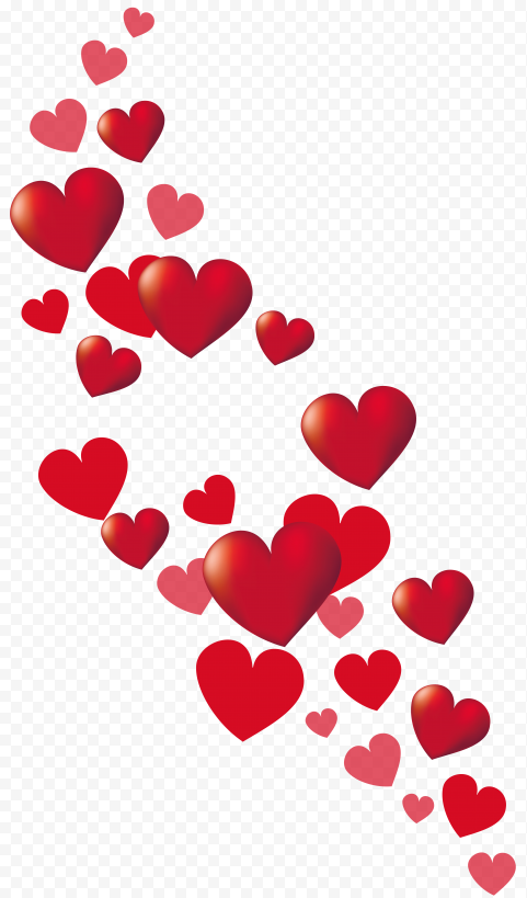 HD Red Floating Hearts Romantic Valentines Day PNG