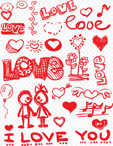 HD Valentine Day Red Items Sketch Style Background PNG