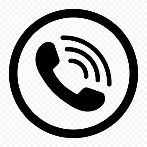HD Black Round Circle Phone Icon PNG