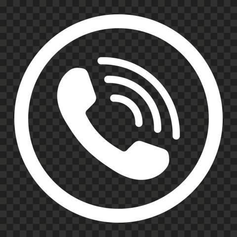 HD White Round Circle Phone Icon PNG