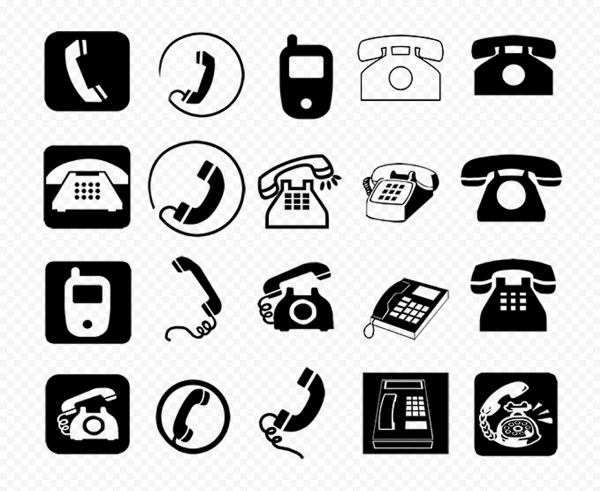 HD Set Of Phones Mobile Smartphones Black Icons PNG
