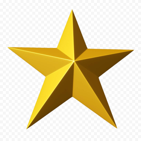 3D Gold Star Front View