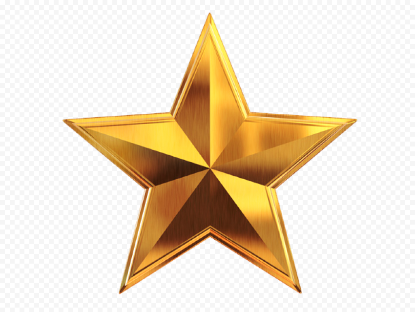 3D Gold Star Metal Effect