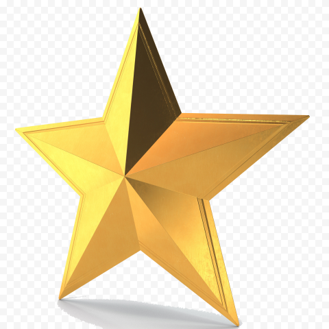 3D Gold Star Yellow Right View