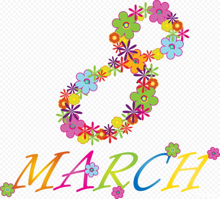 8 March Flowers Colors Clipart
