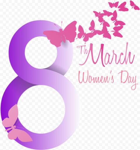 8 March Women'S Day Pink Purple Butterflies Flying