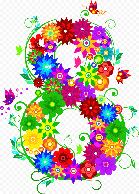 8 Number Vector Colorful Flowers Art Graphic
