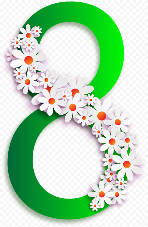 8 Number Vector Green Flowers Art Graphic Design