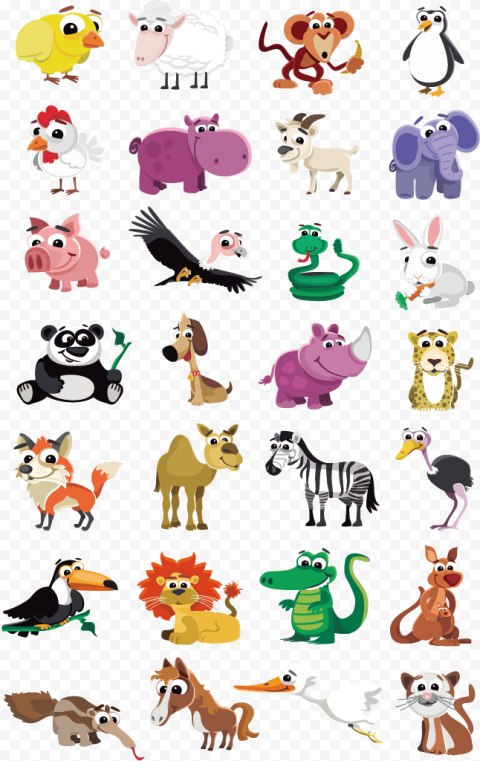 Animals Clipart Farm Wild Cartoon Illustration