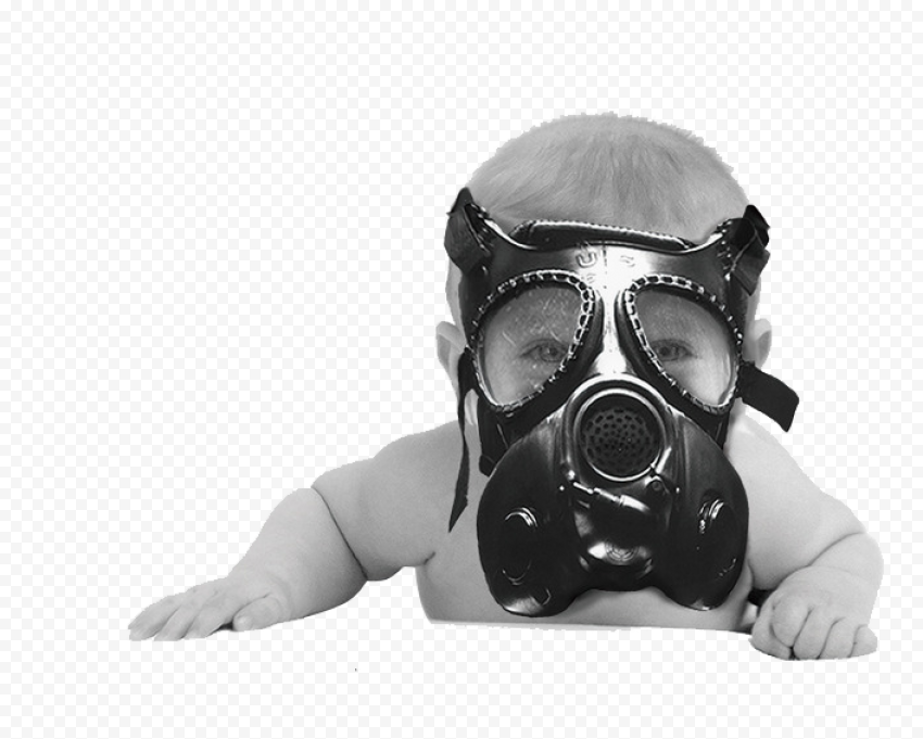 Baby Crawls Mask Gas Air Pollution Smog