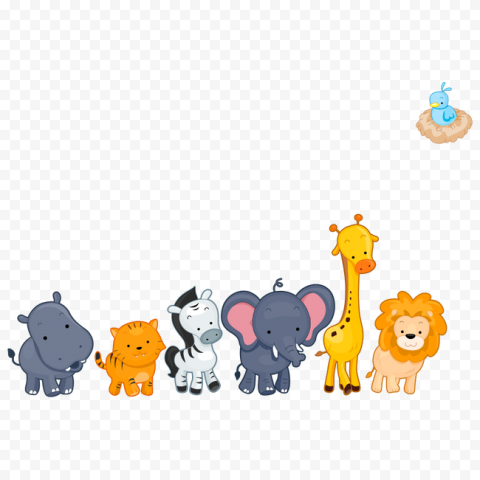 Baby Cute Animals Wild Cartoon Illustration