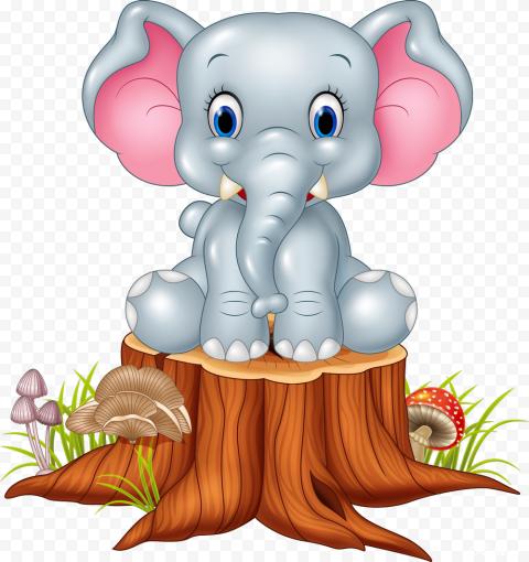 Baby Cute Elephant Cartoon sit down Animal