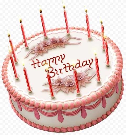 Beautiful Happy Birthday Cake With Candles PNG