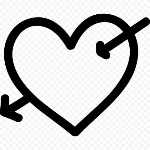 Big Black Heart Cupid Arrow