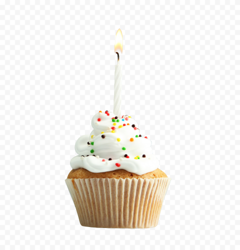 Birthday Cupcake White Cream With Candle PNG
