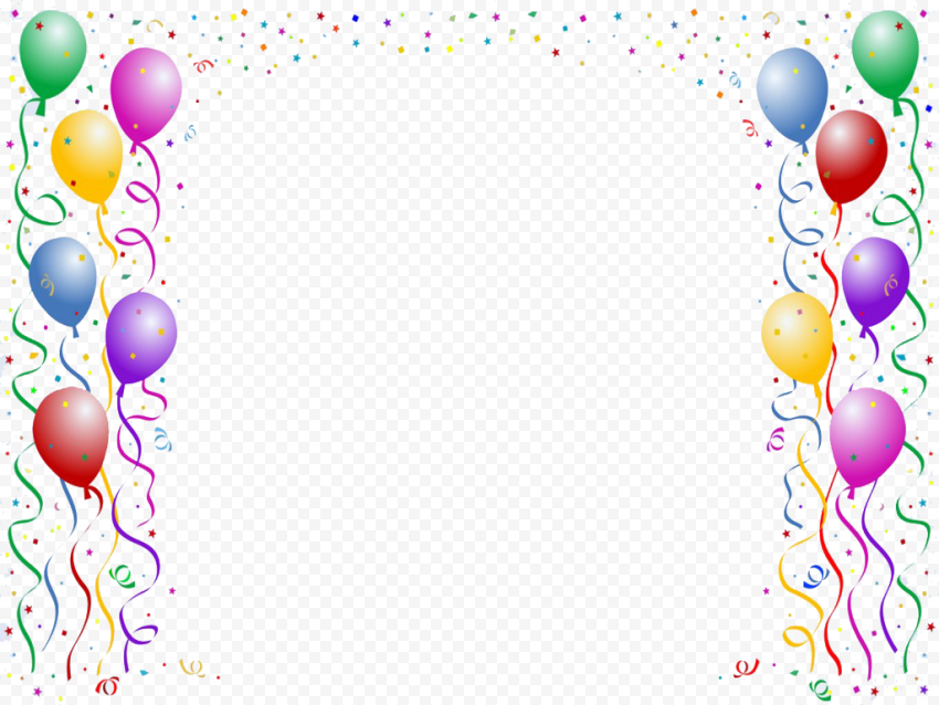 Birthday Party Celebration Balloons Confetti PNG