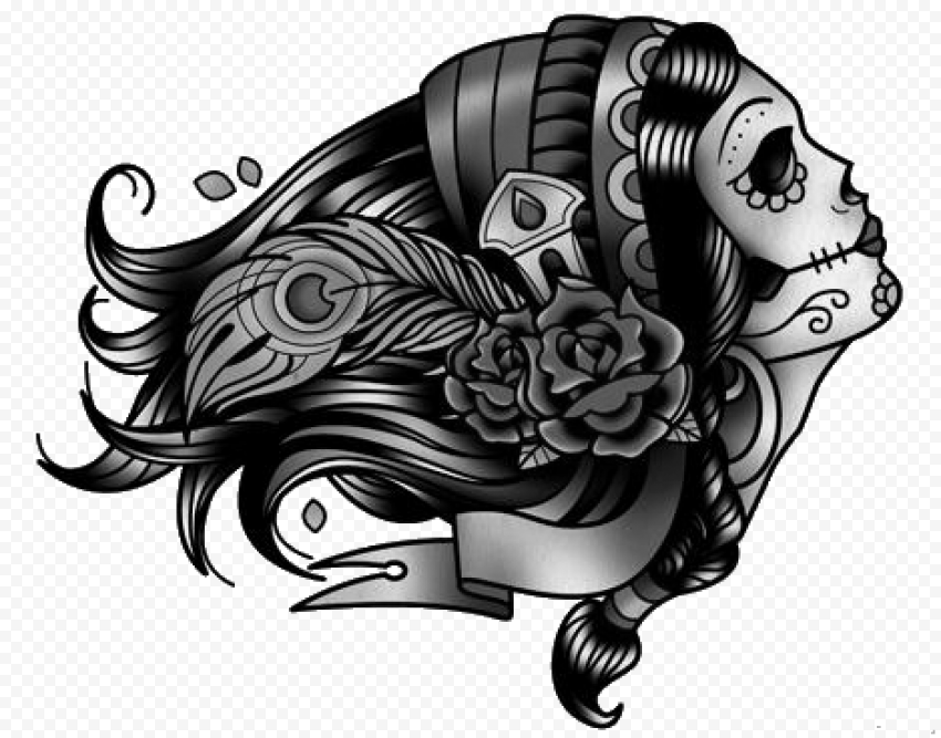 Black Drawing  Side Woman Face Tattoo Flowers