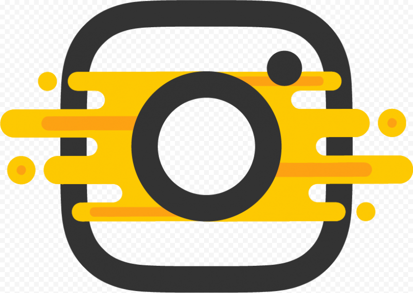 Black Instagram Logo Graphic Design Effect Yellow | Citypng