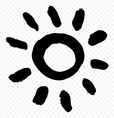 Black Paint Brush Stroke Sun Icon PNG