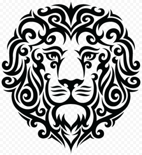 Black Tribal Leo Lion Tattoo Design