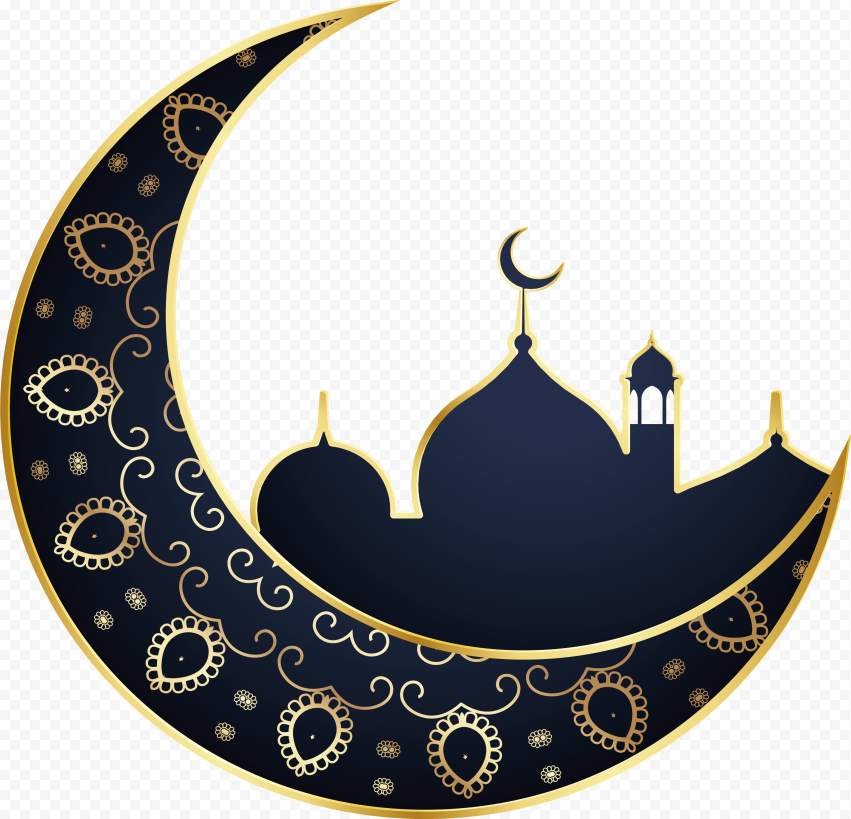 Blue And Gold Mosque Moon Illustration Ramadan